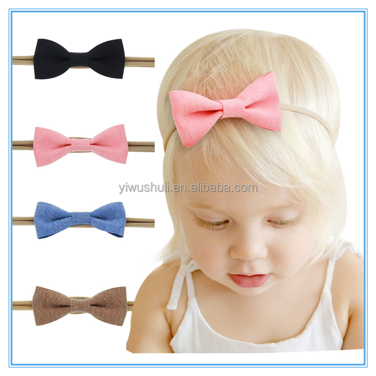 Europe and the United States children's bow hair band,Baby cotton elastic <strong>headband</strong>,4 colors mixed