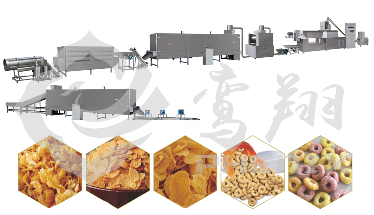 autoamtic cornflakes breakfast cereal food making machine production line
