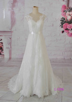 V neck backless a line light ivory high quality beautiful design bridal dress