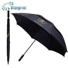 Advertising top quality promotional double layer golf umbrella with logo printing