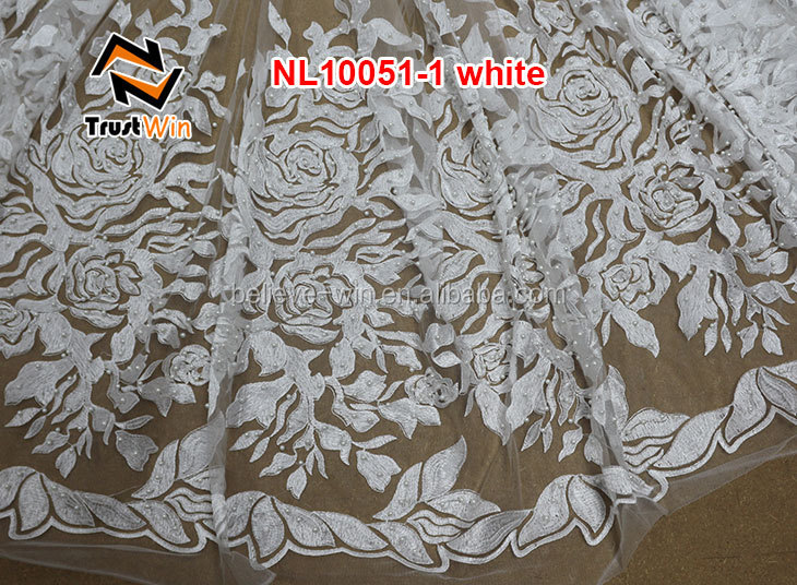 nl10051 french lace curtains white bridal embroidered tulle lace fabric with beaded