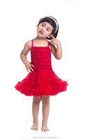 Solid red rosette petti dresse smock toddler baby dress party dresses for girls