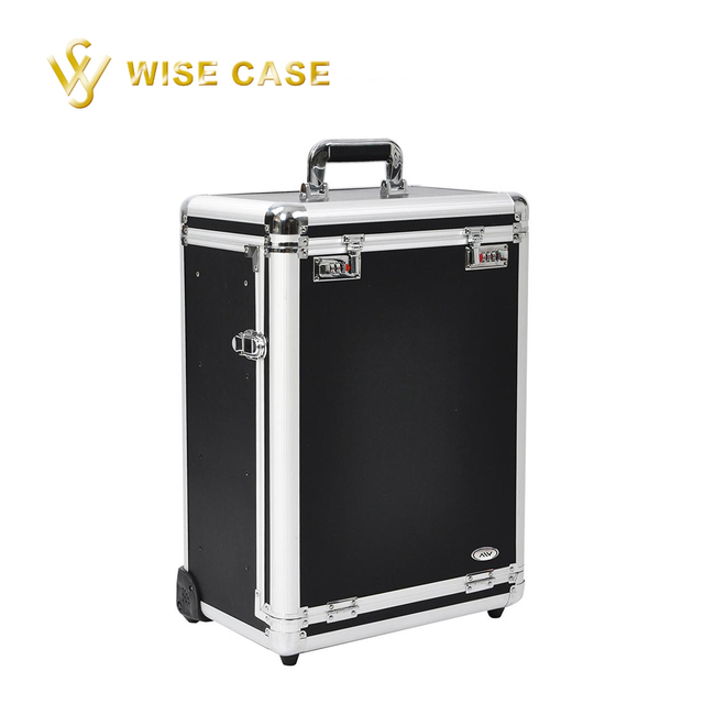 Black Lockable Rolling Makeup Case with Drawer Cosmetic Trolley Box