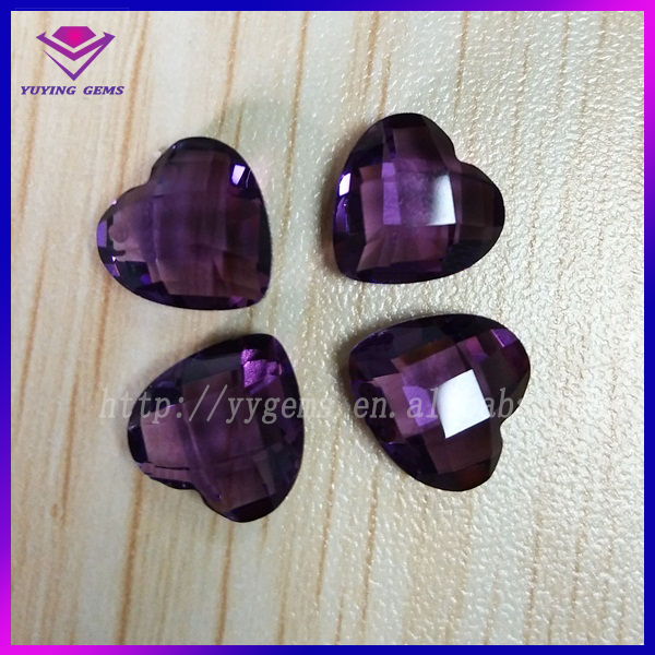 Heart Crystal as Gift Double Faceted Violet Machine Cut Glass Gems