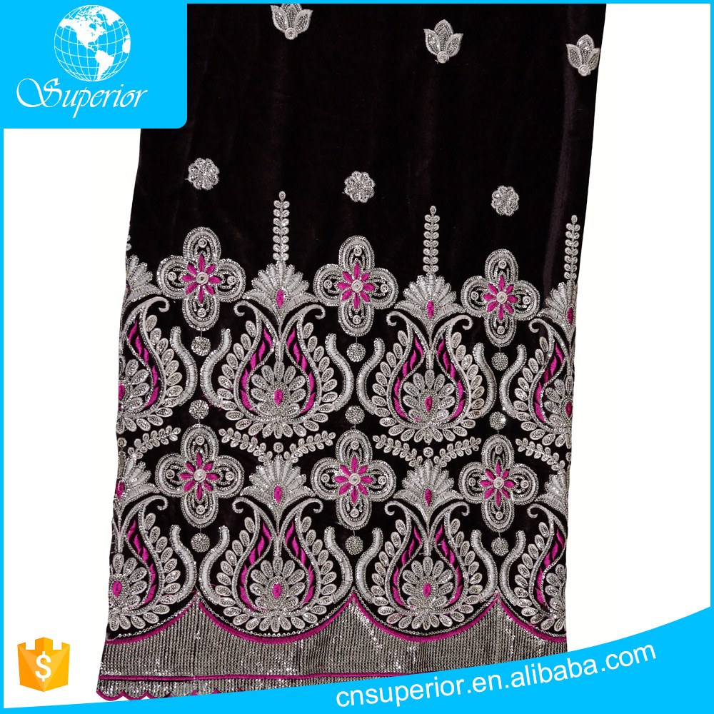 2016 product dubai lace polyester/cotton customized embroidery sequin high quality 160gsm woven velour fabric