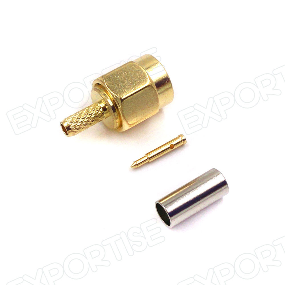 Gold Plated SMA Male Crimp Connector With Pin