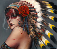 100% Handmade fantasy beautiful smoking woman oil painting on canvas, Native american