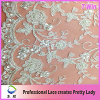 Embroidery cording lace for bridal,evening dress/ hand embroidery silver cord lace fabric