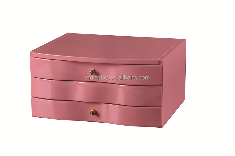 Pink Three Drawer MDF Jewellry Organizer Box