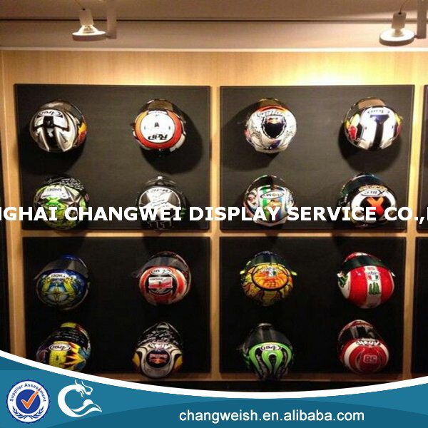 hanging wall helmet display rack and display cabinets