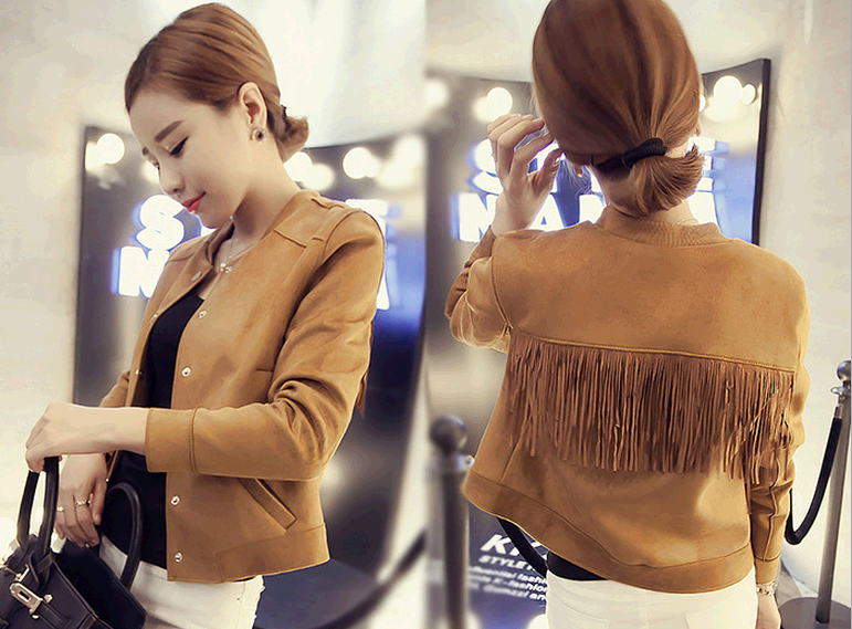 d10256b european short woman winter jacket woman tassel suede coats and jackets