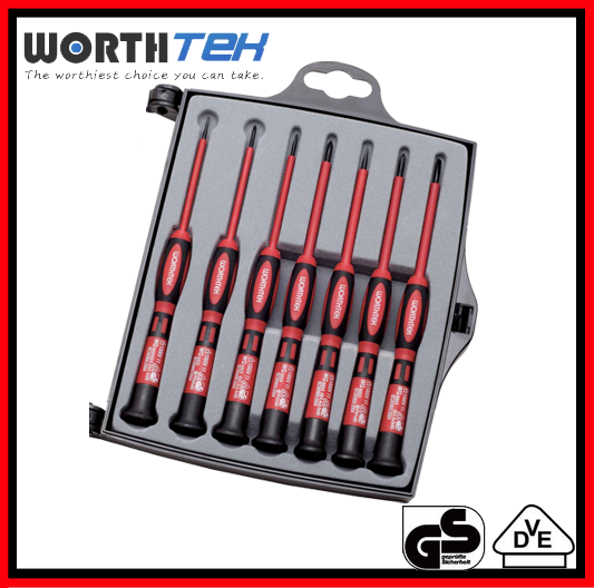 7 PCS VDE PRECISION SCREWDRIVER SET MOBILE TOOL BOX WITH TOOLS