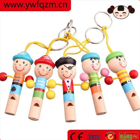 Coloful Promotion Baby Animals Wooden Whistle Toy