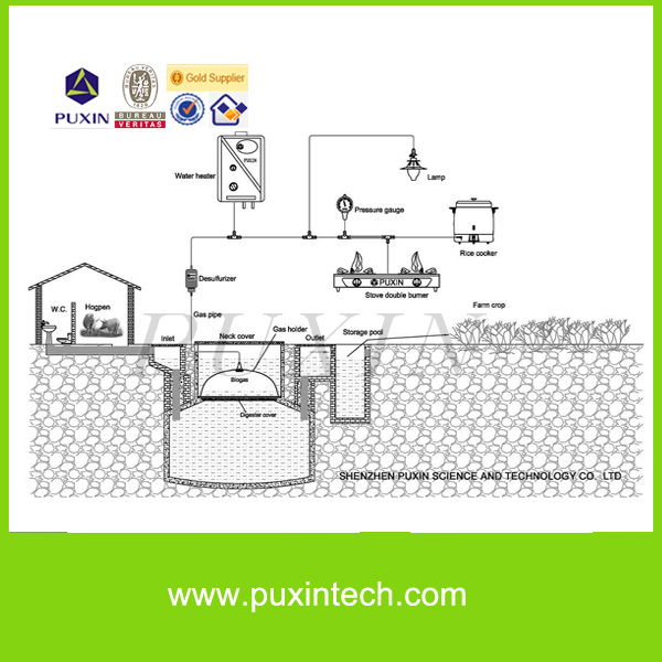 PUXIN organic waste treatment biogas digester for household treatment