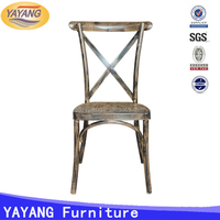 Industrial antique cross back chair metal in dining chairs, metal bar chair promotion