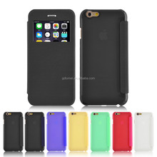 Clear open view window colorful PU flip folio and hard PC plastic back case cover for iPhone 5/ 5s
