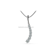 925 Sterling Silver Simple Jewelry Prong Setting Round Cut Cubic Zirconia CZ Diamond Curved Journey Pendant