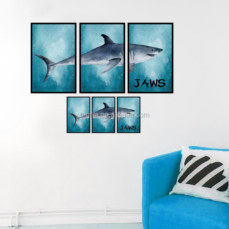 New design jaws shark Photo frame drawing DIY TV background living room decor wall sticker self adhesive wall decal
