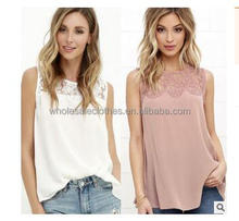 2017 hot sale Women Casual lace Chiffon Sleeveless Vest Shirt Tops Blouse Ladies Top