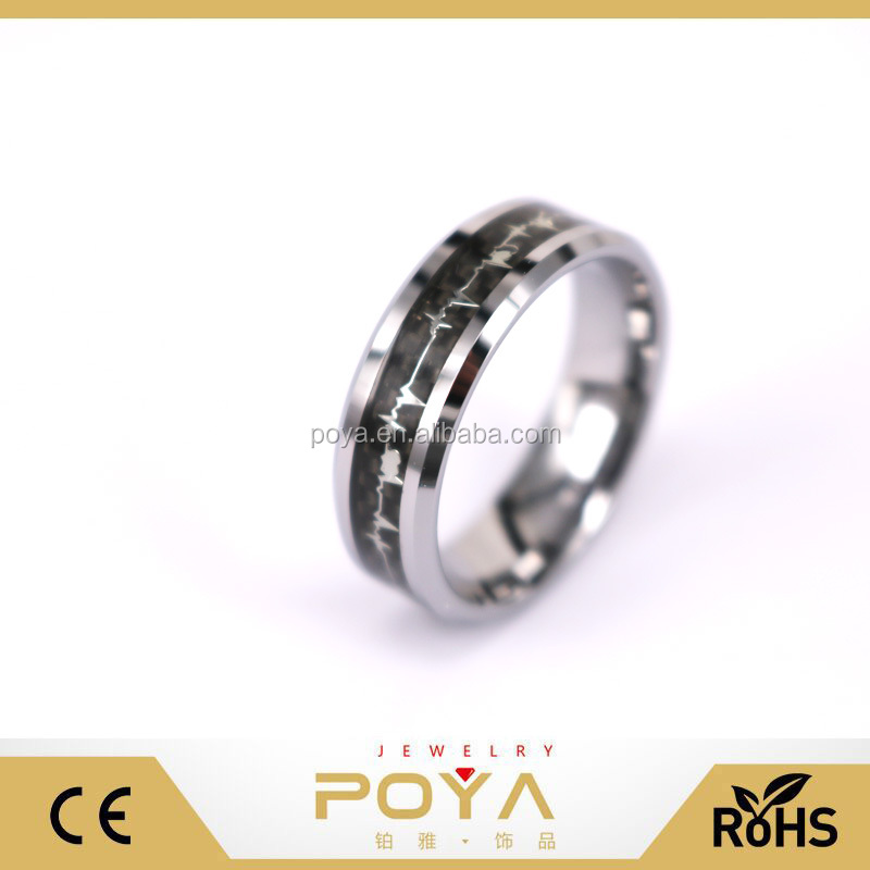 POYA Jewelry 8mm Tungsten Carbide Wedding Rings EKG Heart Beat Surface Overlay Black Carbon Fiber Anniversary Gift
