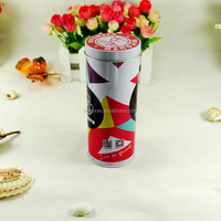 Food grade wholesale decorative empty cylinder cookie tin container