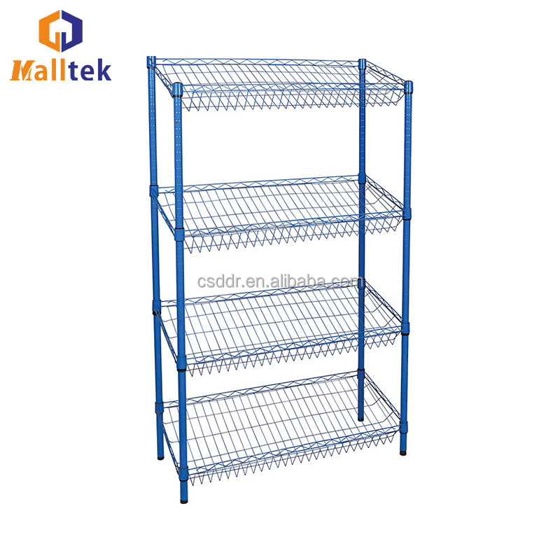 Professional Durable Inclined Mesh Wire Shelving