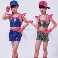 4 sizes girls dance wear for kids cappa tops+shorts suit