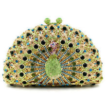 Factory customize Animal Shape Peacock Design Crystal clutches and purses Sepcial Price