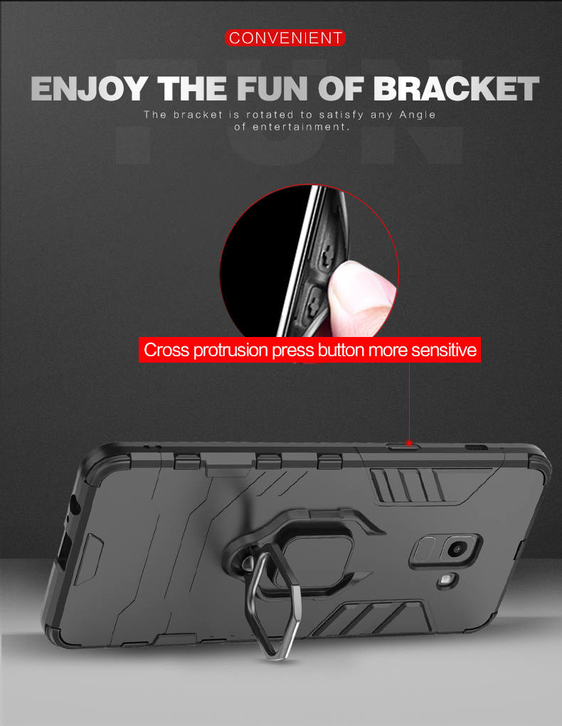 2019 New arrival Car Magnet Metal Ring TPU PC hybrid smart phone case for samsung M10 M20 case
