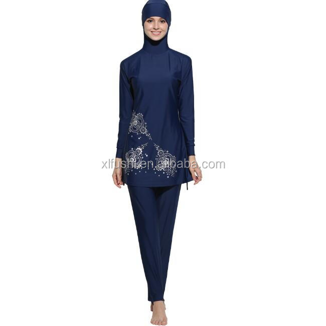 NEW STOCK Two Colors Print Flower Front Elegant Woman Slim Muslim Swimwear