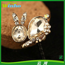 Winho high quality rabbit shaped crystal cute anti dust plug for samsung