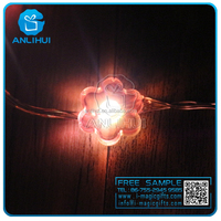 Energy saving solar panel copper wire fairy light strings pink flower more shapes fairy light string
