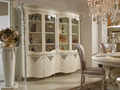 Luxury Decorative Dining Room Four Doors Wine Display Cabinet, White and Silver Glass Door Vitrine China Cabinet