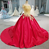LS00377 China sliver appliques bead satin red carpet long train party evening ball gown