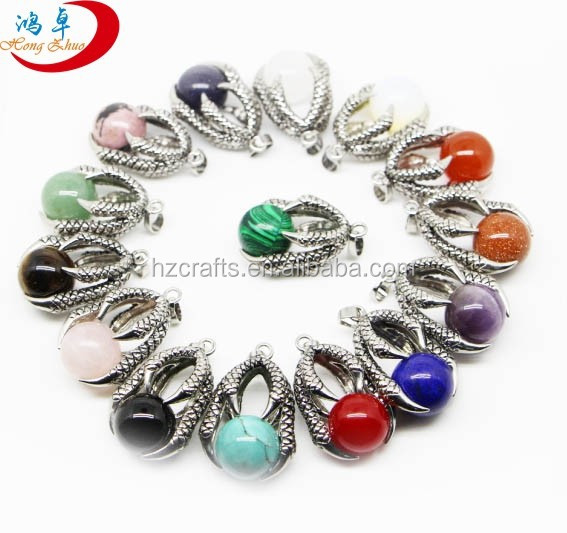 Mixed Silver Dragon Ball Agate Gemstone Beads Crystal Pendant