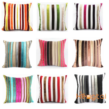 Christmas cushion Stock Cotton/Rayon Yarn Dyed Stripe Plain Velvet Cushion Cover HT-RCVYDC
