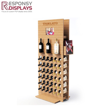Customized new design floor solid wood wine display shelf