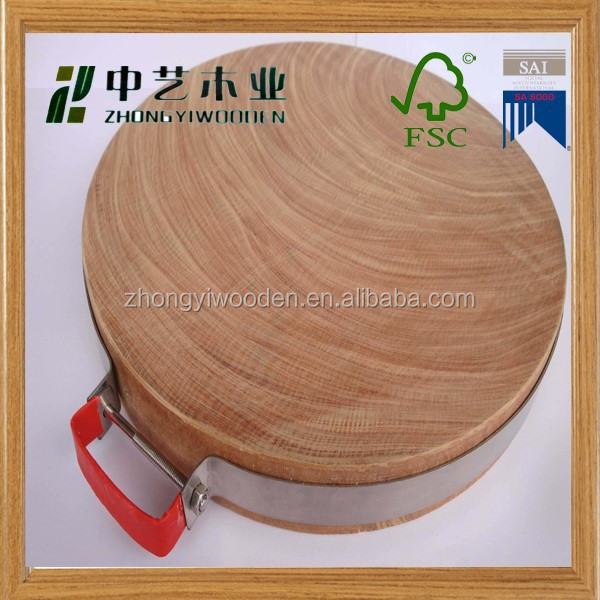 hot selling 2015 year china suppliers FSC&SA8000 kitchen round wooden cutting board for wholesale