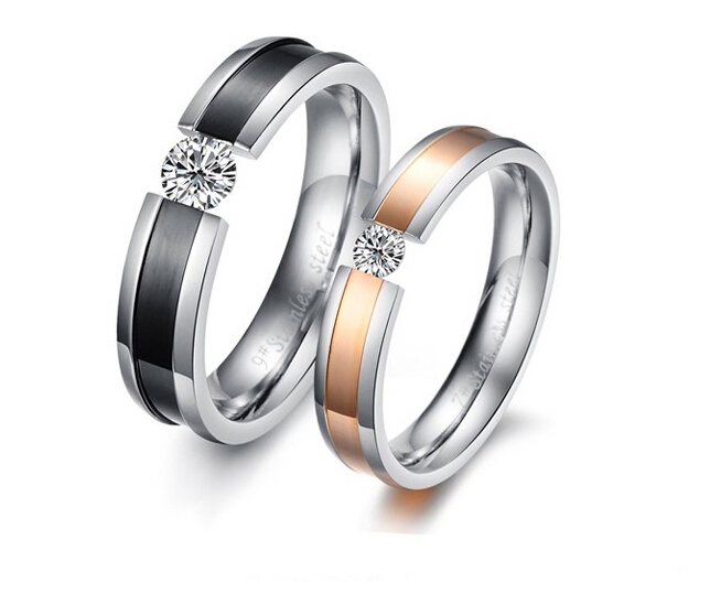 Fashion Jewelry Titanium 316L Stainless Steel CZ Crystal Rhinestone Promise Couple Wedding Lovers <strong>Rings</strong>