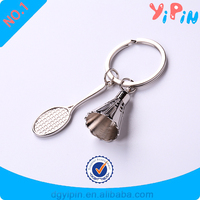 2016 Hot sell Couple Key Ring Cute Badminton Alloy key chain metal