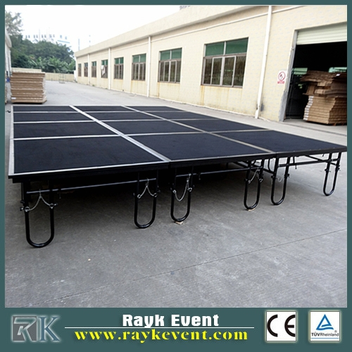 folding portable stage and crowd fencing barrier for stage equipment