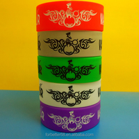 Custom Logo One Inch Debossed Silicone Wristbands