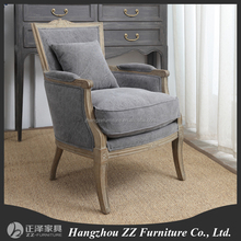 Vintage Wood Frame Linen Fabric Living Room Sofa Chair Antique Wooden Carving Furniture