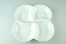 Ceramic porcelain white flower divided plate, 4section serving dish divided rectangular plate dishes