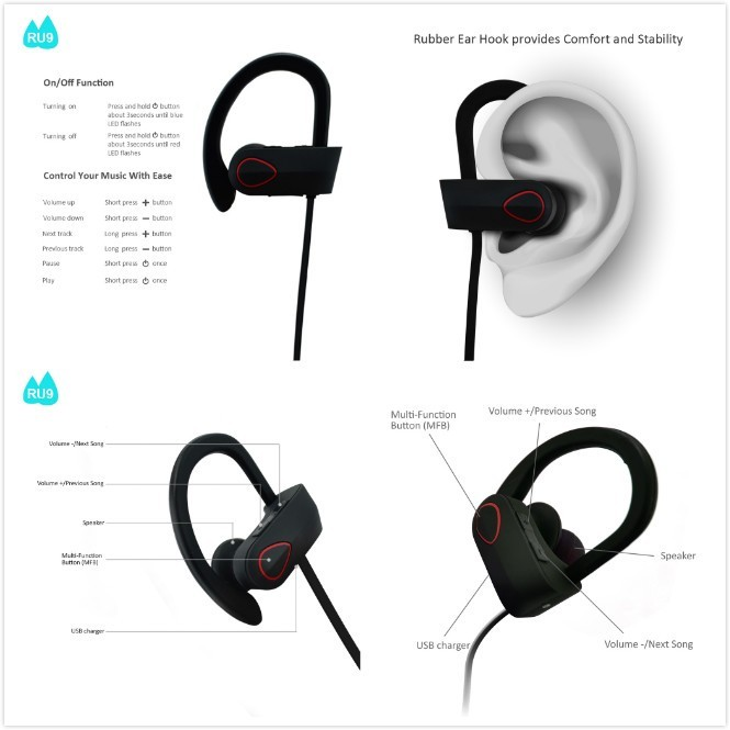 2017 New Product Sport Bluetooth Headphone Wireless Bluetooth Headset Earbuds--RU9
