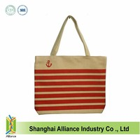 10oz cotton canvas tote bag stripe canvas beach tote bag wholesale