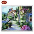 Oill Painting Effect Spring Scenery With LED Light Canvas Wall Decor
