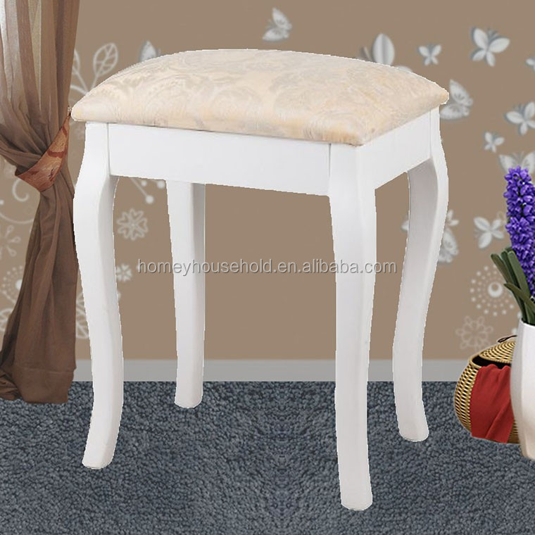 Hand carve baroque french modern style wooden white cushioned stool