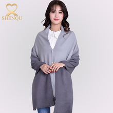 Gradient color ladies winter thick poncho sweater magic pashmina ponchos with unique button