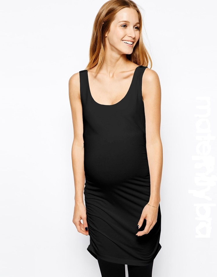 Stretch Fabric Elegant Maternity Dress Long Tank Dress with Ruched Detail